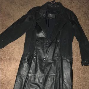 Western leather/ suede trench coat.